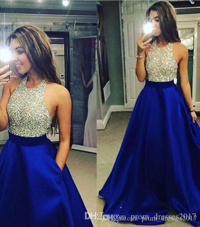 2020 새로운 도착 블루와 실버 비즈 크리스탈 댄스 파티 드레스 최신 바닥 길이 맞춤 제작 이브닝 가운 플러스 사이즈 Paryt 드레스