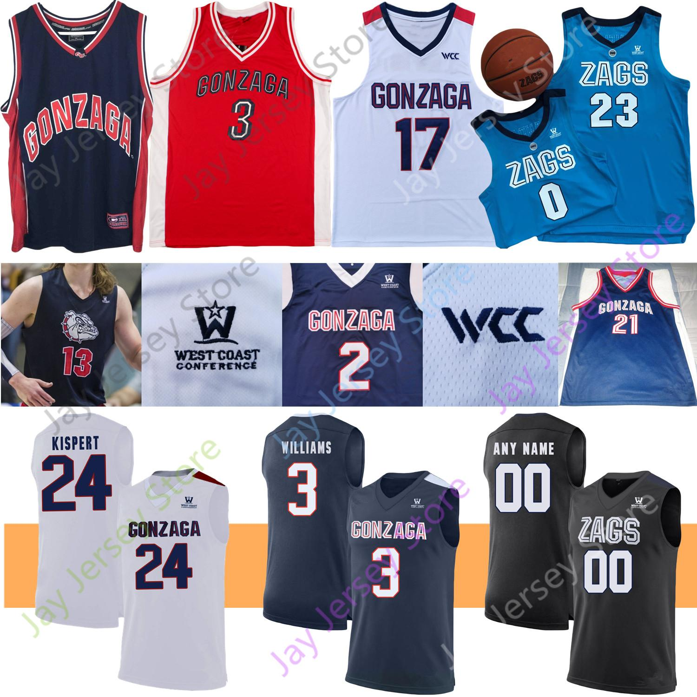 Gonzaga Bulldogs Basketbol Jersey NCAA Kolej John Stockton Petrusev Gilder Drew Timme Jalen Suggs Ryan Woolridge'de Anton Watson Joel Ayayi