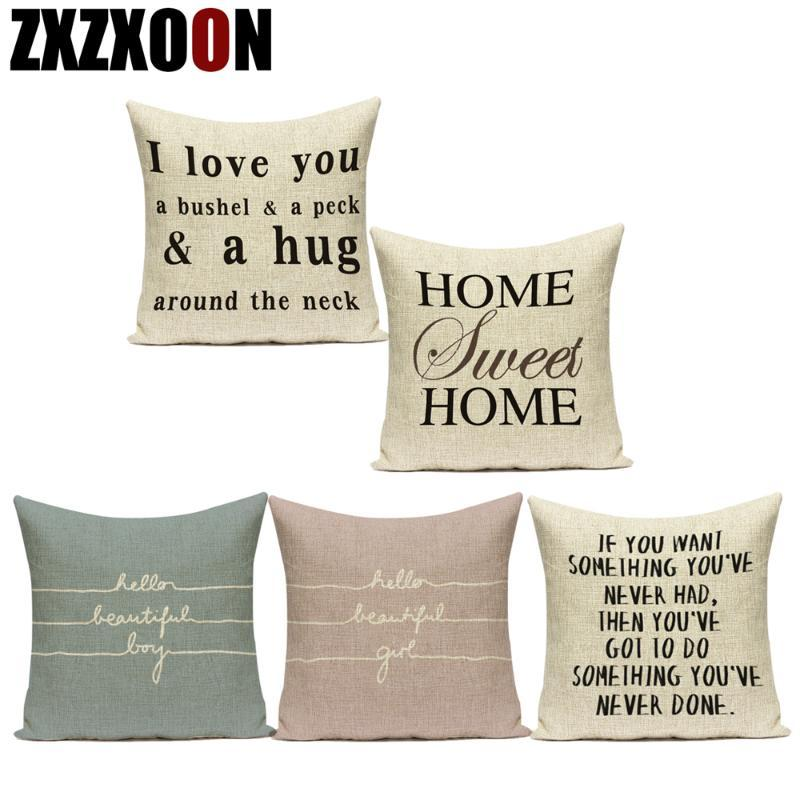 "Black White Decorative Pillows Case Letter ""do The Things You Love"" Cotton Linen Sofa Cushion Cover for Car Home Living Room"