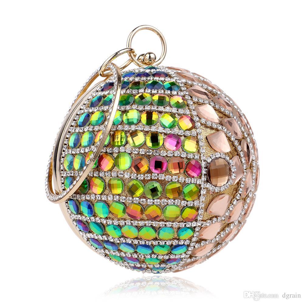 Dgrain Prominente Frauen Perlen Kristall Gold Abend Handtasche Tasche Metallrahmen Runde Hochzeit Handtasche Clutch Minaudiere Box Bolsa De Festa