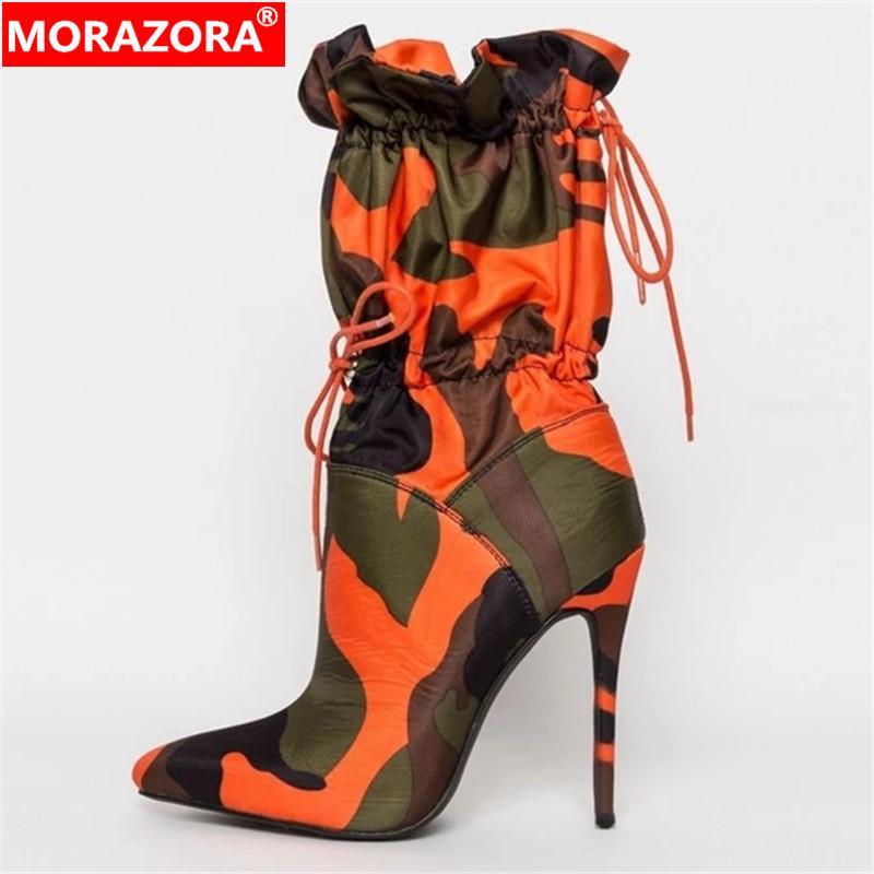 MORAZORA Mais novo sexy stiletto sapatos de salto alto mulheres ankle boots Camouflage apontou toe outono botas de inverno mulher sapatos de festa