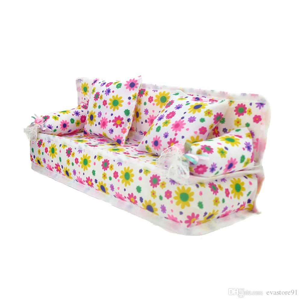 Sensational Fashion Mini Flower Cloth Sofa With 2 Full Cushions Bedroom Dollhouse Furniture For Barbie Doll Accessories Baby Kids Gift Toy Wood Dollhouse Dolls Bralicious Painted Fabric Chair Ideas Braliciousco