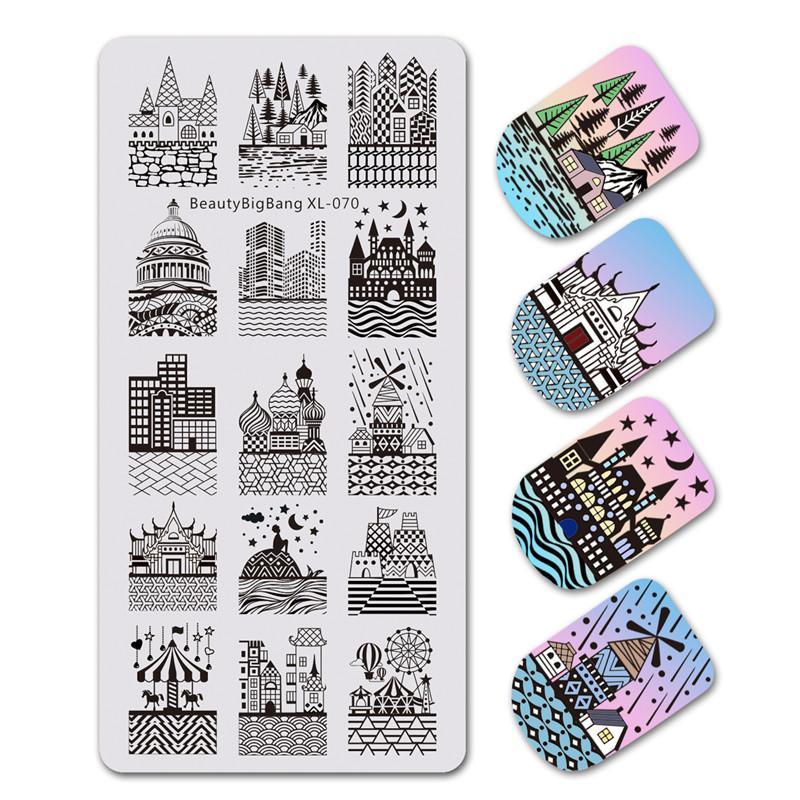 BeautyBigBang 1 шт. штамповка для ногтей прямоугольник замок здание изображения ногтей штамповка плиты шаблон ногтей инструменты XL-070