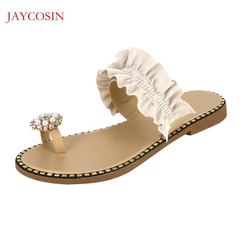 JAYCOSIN Chaussures Femme 2020 Mode Sandales plates Femmes Plateforme d'été Casual Strass Perles Slipper ouvert Toe Shoes F15
