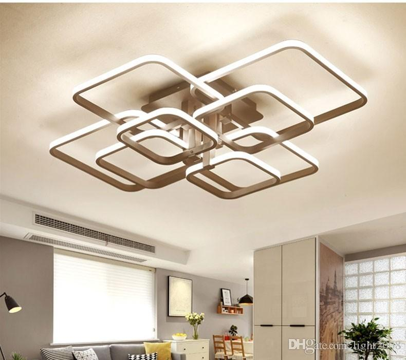 lustre moderne conduit avec des lumières acryliques de télécommande pour Salon Chambre Maison plafond Lustre Fixtures Livraison gratuite