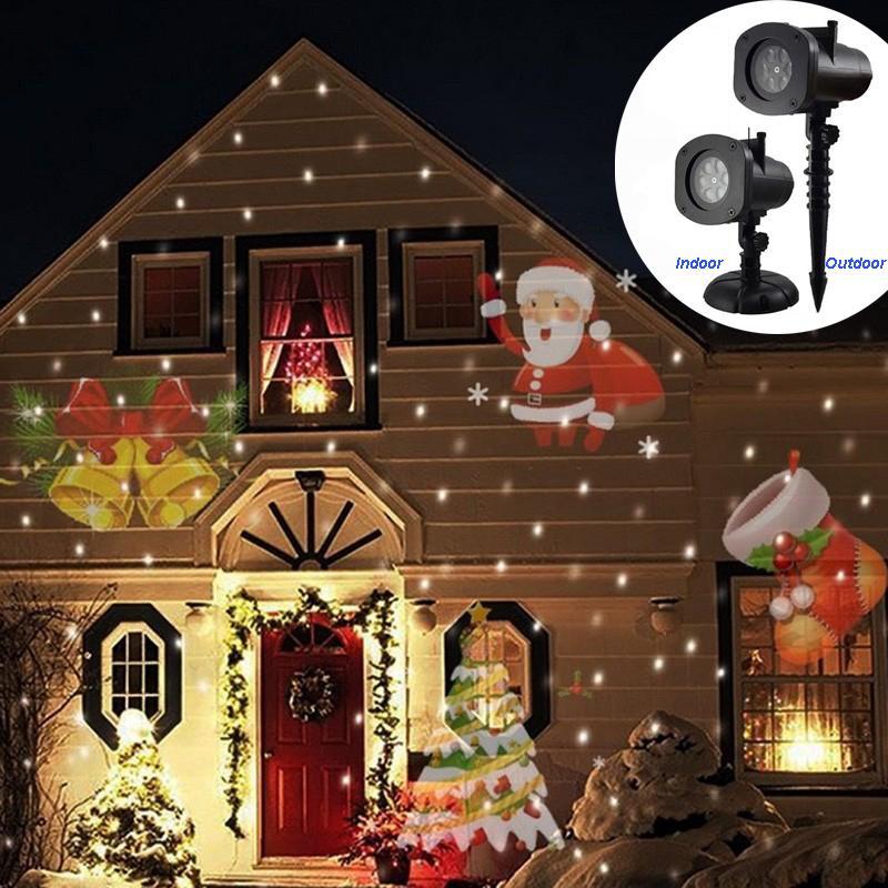 2 en 1 La luz del láser de Navidad del copo de nieve Projecto 16 tarjetas coloridas Rotación de luz de jardín de iluminación de la etapa del partido del disco de DJ de la lámpara
