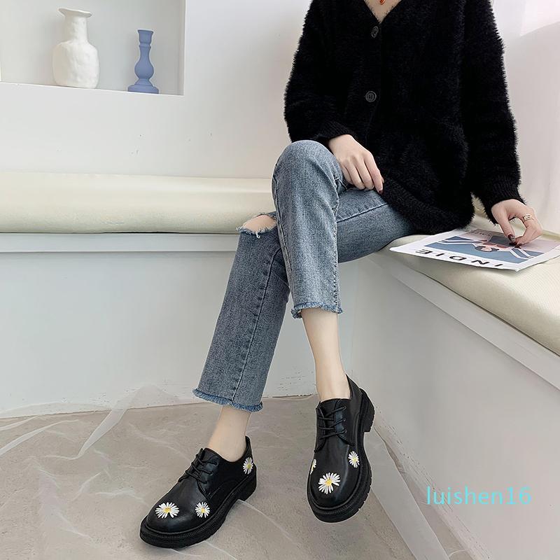Printemps Automne Filles Chaussures en cuir verni femmes Chaussures Femme Plateforme Flats bout rond noir de dames Zapatos mujer U29-45 L16