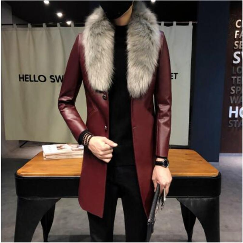 Gold Men larga para hombre foso de cuero Negro abrigos largos de la capa para hombre Borgoña Erkek Palto cuello de piel de lujo