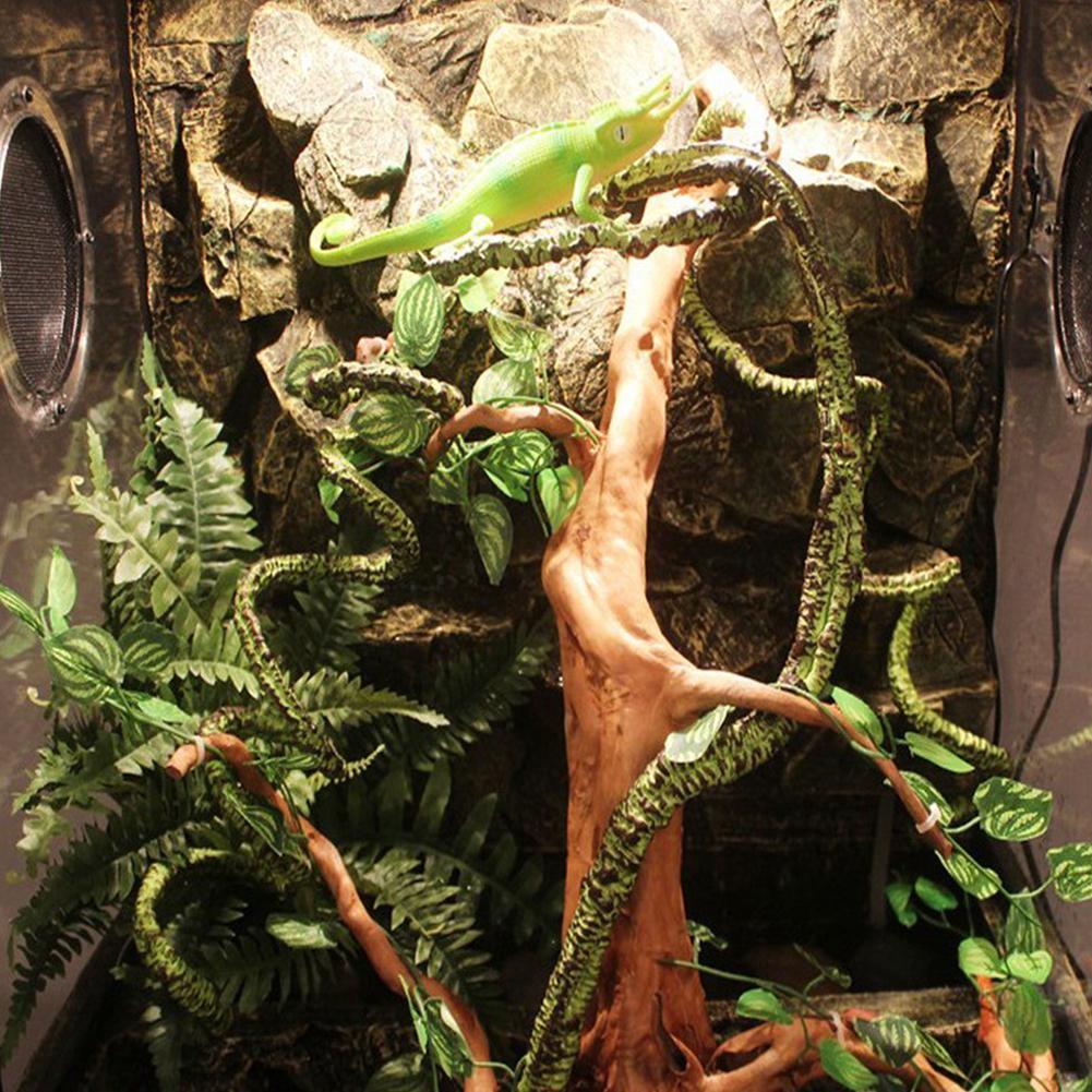 Decor Habitat LanLan flexível dobrável árvore artificial videira da selva Vines Pet para Lagarto Rãs Snakes and Mais Répteis
