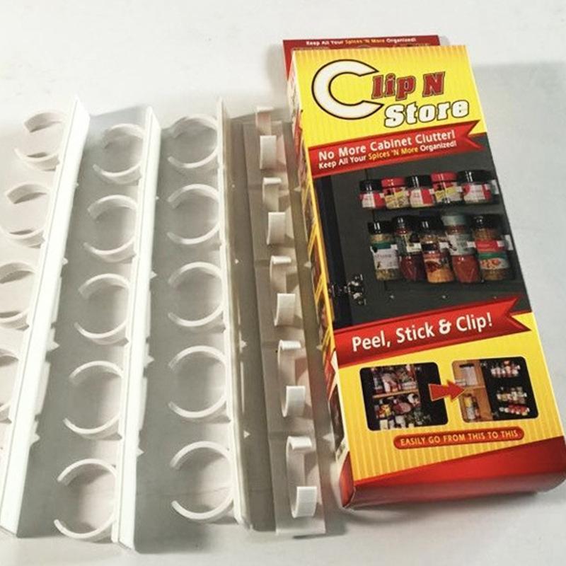 Duvar Tipi Bileşen Baharat Şişe Plastik Klip Organizatör Mutfak Dolabı Kapı Hooks Kavanozları Baharat Tutucu Araçlar Rack