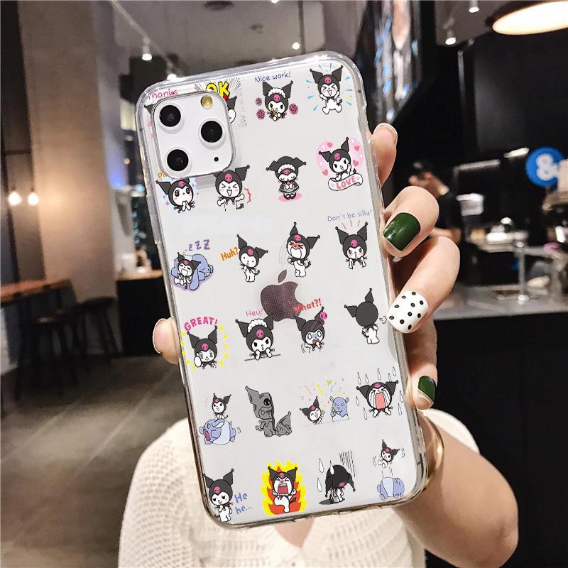 Kuromi lindo transparente de silicona suave TPU cubierta del teléfono Para iphonePhone 5 SE 6S 7 8 Plus X XR XS Max 11 11Pro 11Pro Max