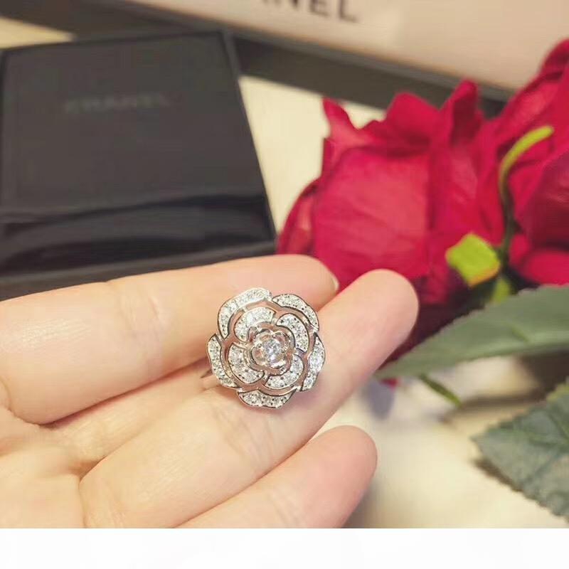 여성 스털링 실버 925 반지 럭셔리 여자 파티 다이아몬드 동백 반지 웨딩 약혼 보석