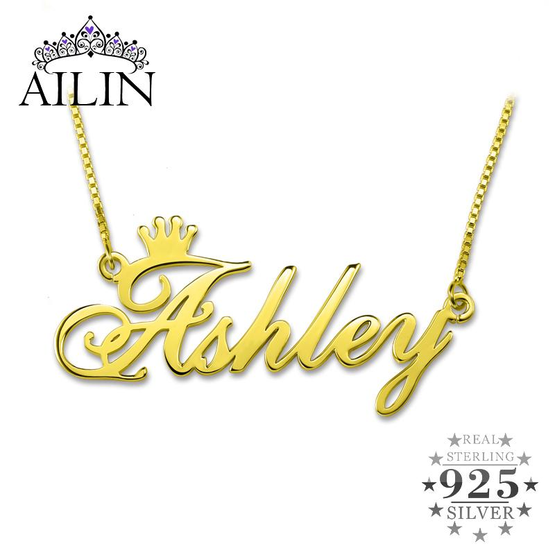 AILIN Custom Nameplate Necklace Personalized Name Crown Necklace Gold Color In 925 Sterling Silver Sweet Memorial Gifts