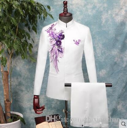Erkek Çin tunik suit pantolon ile set Pullu çiçek düğün suit kostüm şarkıcı koro sahne standı yaka trajes para hombre