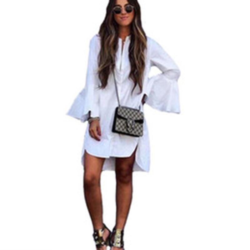 Nueva camisa de las mujeres blancas de la llamarada de la manga del vestido del verano del O cuello recto mujer elegante Bloues Ropa Casual Tops