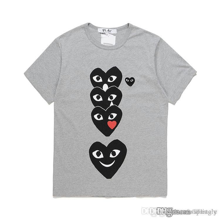2018 الجملة COM أفضل نوعية رمادي رمادي CDG جديد رجل إمرأة des play 1 CDG الأحمر القلب قصير كم des 1 t-shirt خمر Play