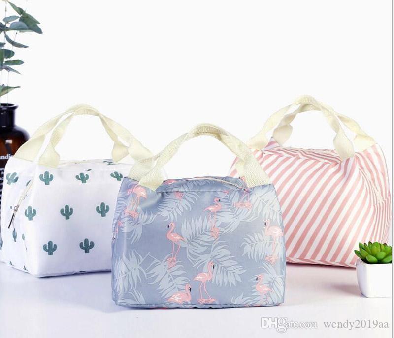 5 أنماط جديدة هندسية نمط حقيبة الغداء حمل حقيبة الغداء المنظم مقبض العزل الباردة نزهة الغذاء تخزين مربع الحرارية قماش مربع