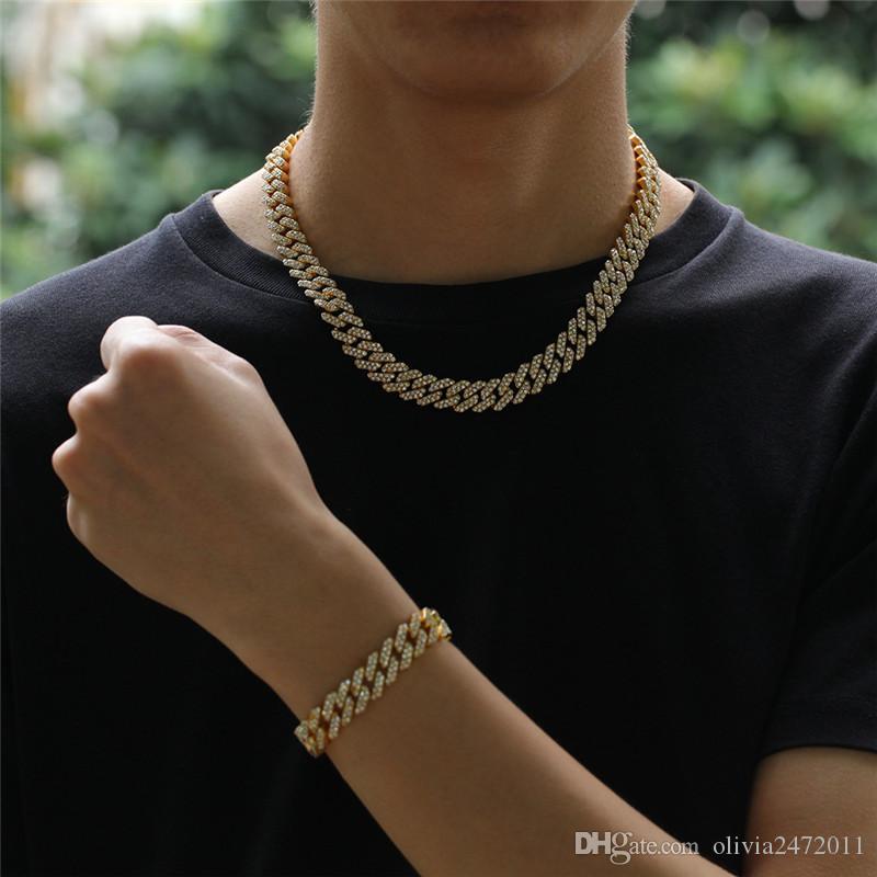 12 мм кубинский звено цепи золото серебряный сплав ожерелье браслет ледяной кристалл горный хрусталь Bling колье ожерелья хип-хоп ювелирные изделия для мужчин GM