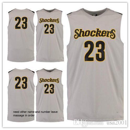 # 23 Wichita State Shockers su misura uomo donna pullover da basket giovanile taglia S-5XL qualsiasi numero nome