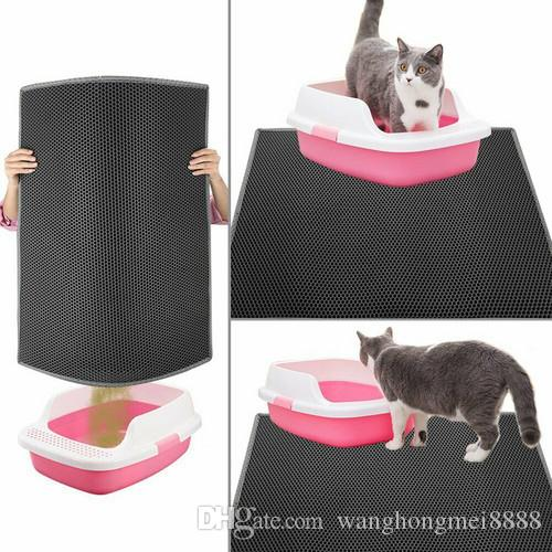Geagodelia 고양이 매트 쓰레기 모래 매트 스크레이퍼 고양이 쓰레기 매트 쓰레기 벌집 디자인 더블 레이어, 빨 방수