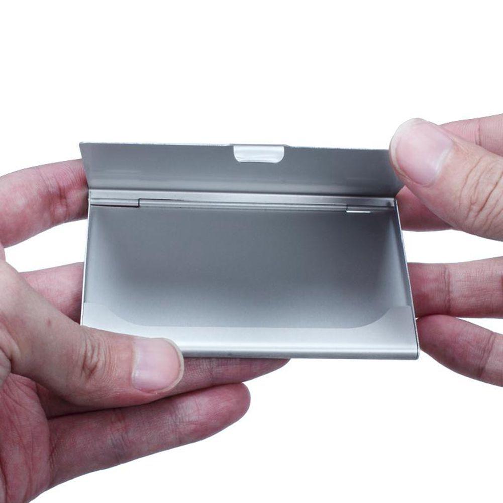 100 قطع الأسود حامل بطاقة الأعمال في جيب اسم الأعمال بطاقة الائتمان حامل بطاقة معدنية الألومنيوم مربع غطاء القضية حامل بطاقة الأعمال المعدنية
