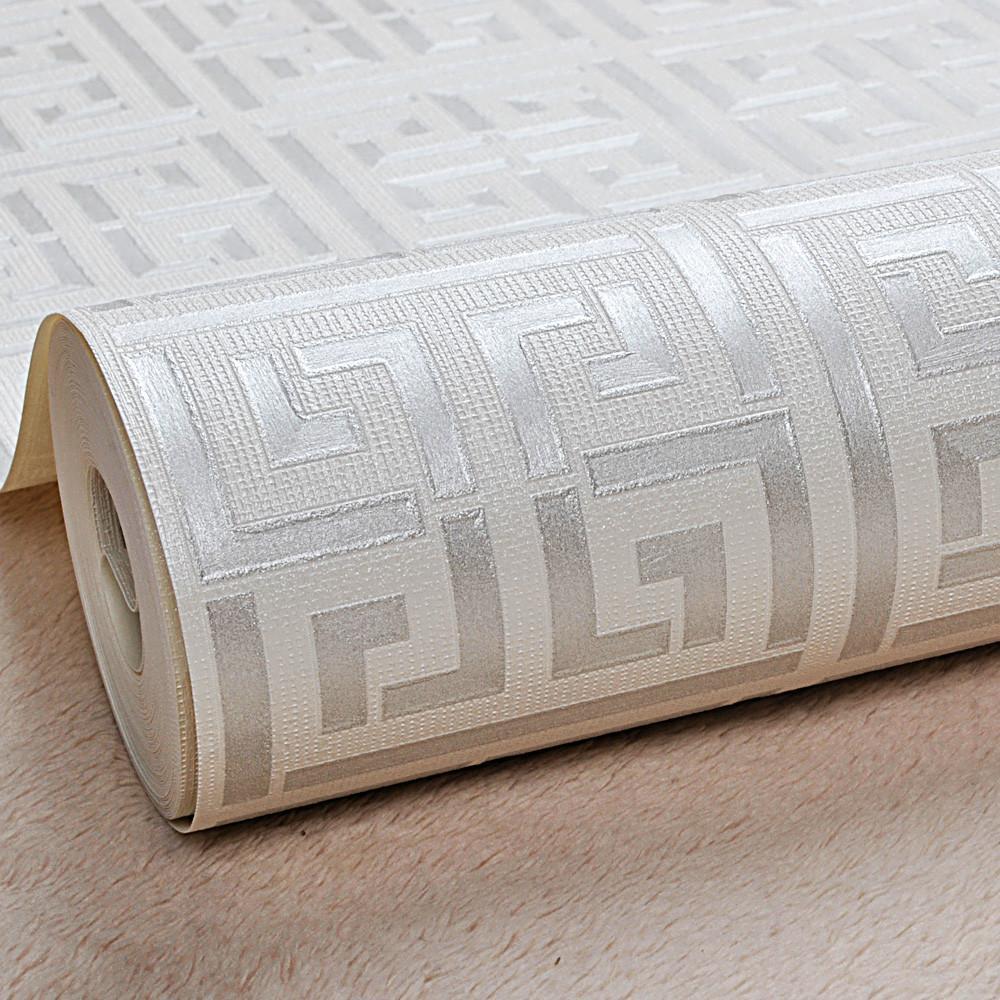 화이트 골드 그리스어 키 패턴 화이트 벽지 현대 기하학적 금속 비닐 벽 종이 롤 청록, 블랙, 실버, 로즈 골드