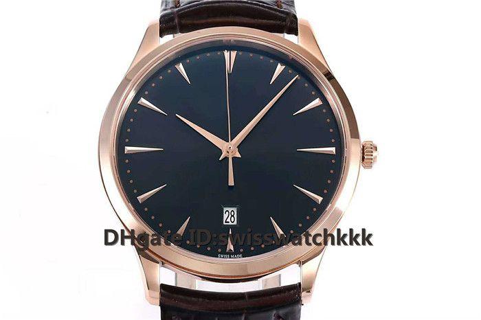 ZF New Q1288420 relojes de diseño para hombre Swiss 899 Automatic Sapphire Crystal Ultra Thin Rose Gold Case Marrón correa de piel de becerro Reloj para hombre
