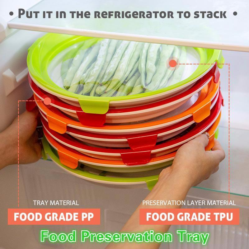 Bandeja redonda inteligente saludable creativo Preservación bandeja de plástico contenedor de almacenamiento nuevo juego de almacenamiento de microondas cubierta