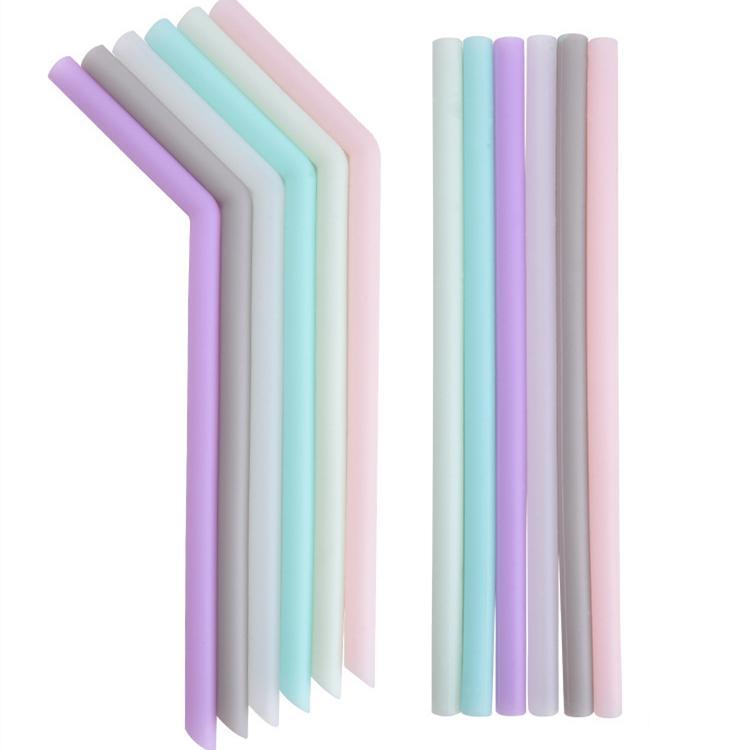 Boisson silicone paille multi-couleur paille réutilisable en silicone Accueil Bent droite paille plié Bar Accessoire tube de silicone T2I5242