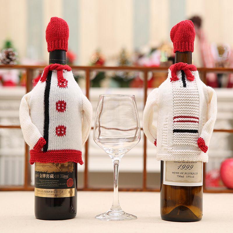 Smiry 1 Conjunto de Navidad sombrero lindo y un suéter rojo vino titulares de la botella cubierta de bolsas de regalos que hacen punto de Bolsas de decoración de Navidad