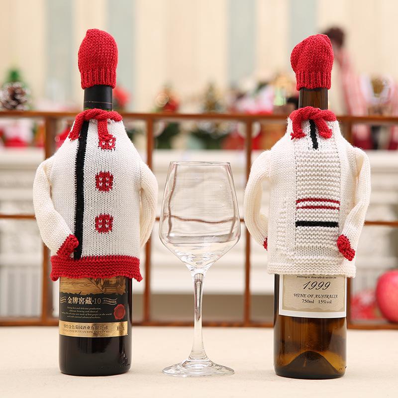 Smiry 1 Set de Noël chapeau mignon et porte-bouteilles de vin rouge chandail couverture Sacs à tricoter Cadeaux Sacs Décoration de Noël