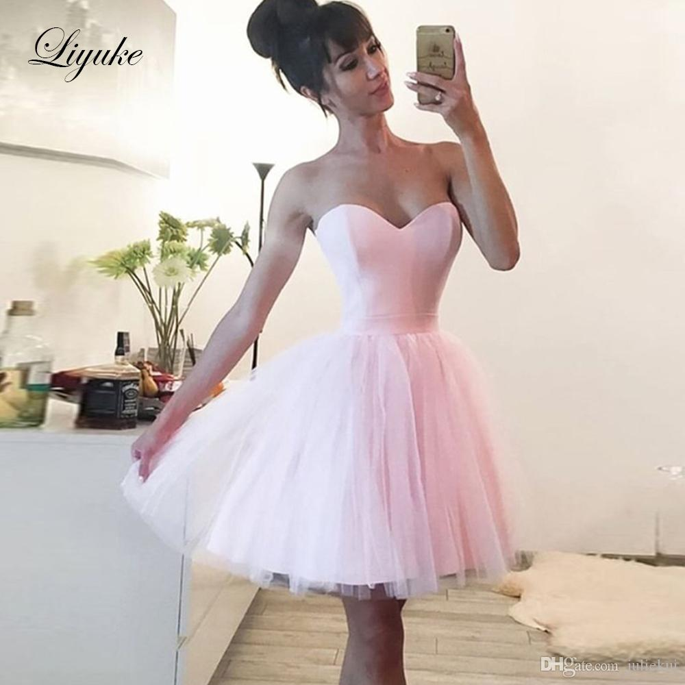 Pink Sweetheart Short Cocktail Dresses Lovely Tulle Skirt Sleeveless Lace Up 2019 Simple Mini Formal Homecoming Graduation Party Gown Liyuke