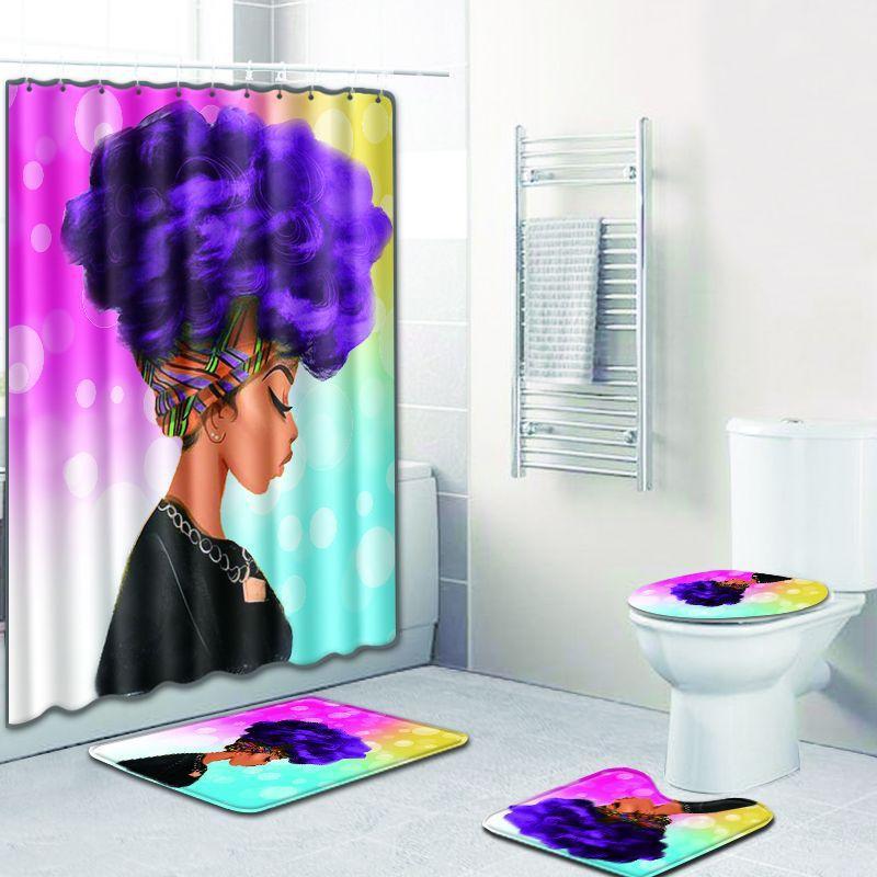 4pcs / lot menina negra cortina de chuveiro do banheiro cortina bano de poliéster impermeável cortina de chuveiro africano afro com o conjunto de tapete de banho