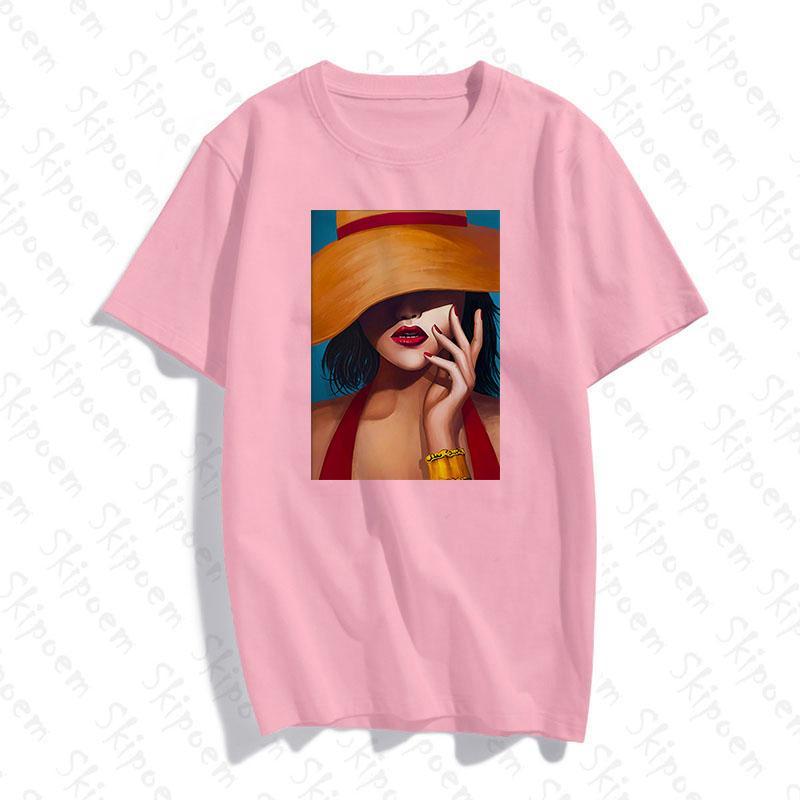 Européens et américains moderne clair Luxe Art T-shirt Femmes Casual manches courtes en coton Skipoem été coloré Hauts Streetwear