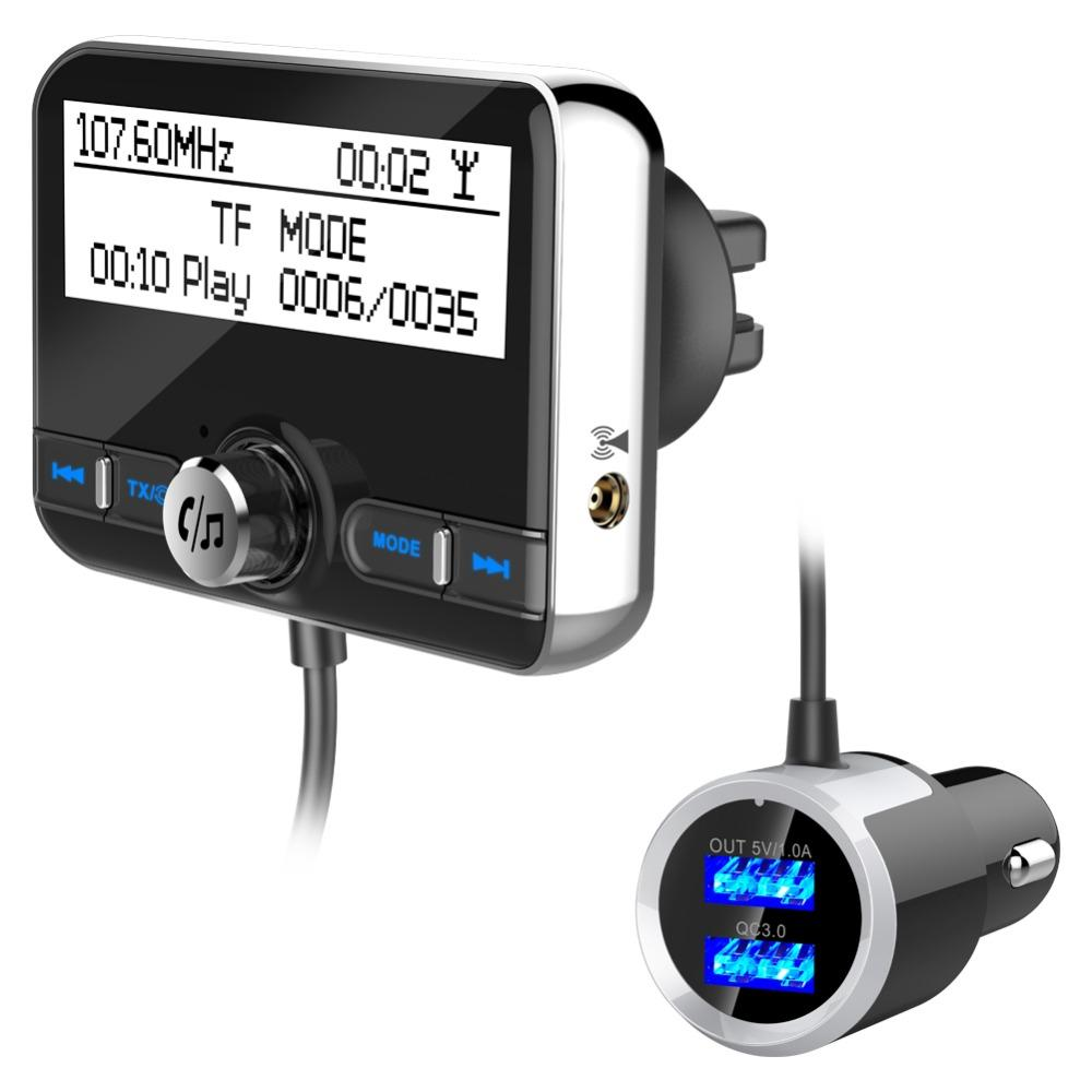 Universal Car DAB Radio Receiver Tuner FM Transmitter Plug-and-Play DAB Adaptor USB Charger 5V/2.1A QC3.0 Version 4.2+EDR