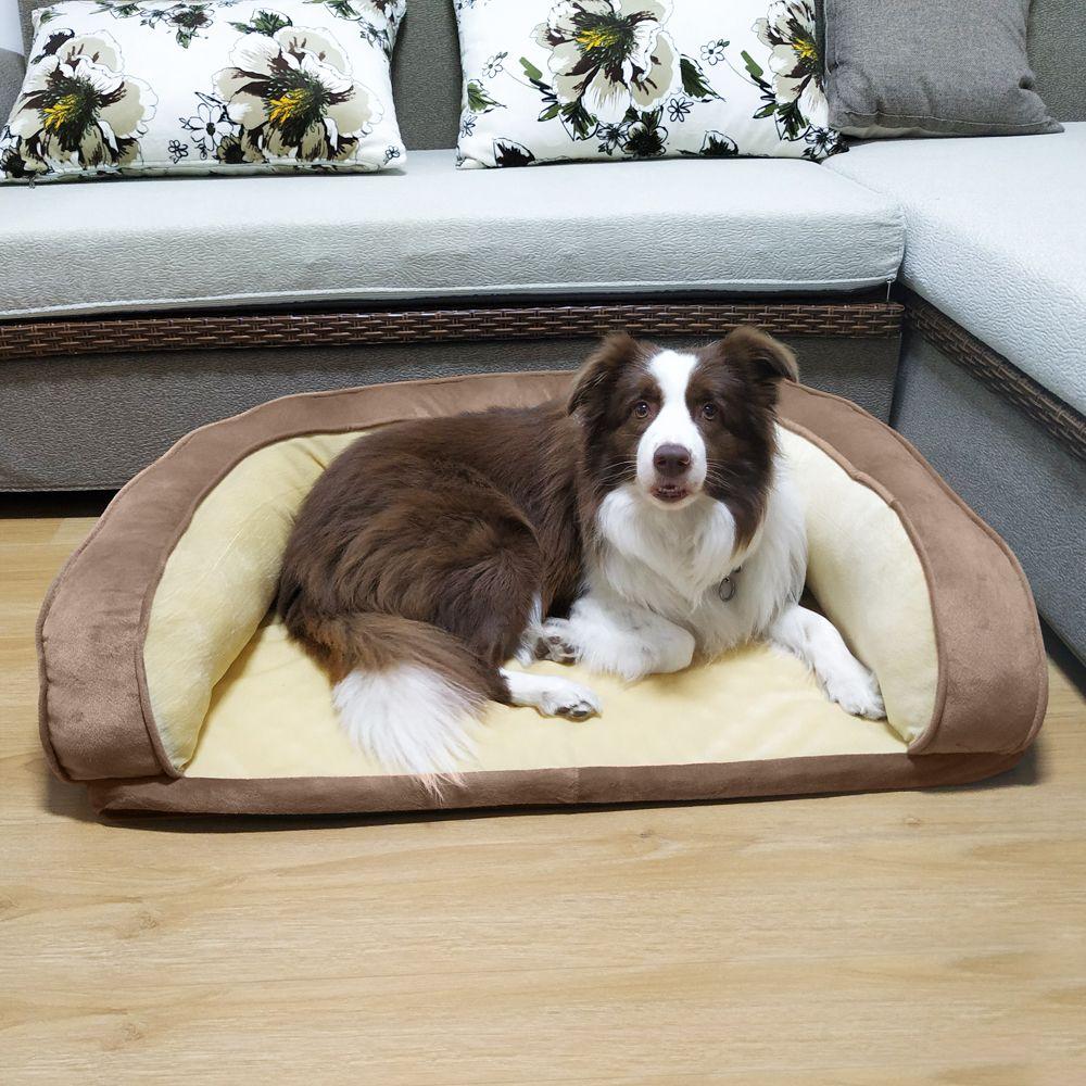 "36"" Pet Dog Bed Pet Sofa Pad Cushion PP Cotton Brown"