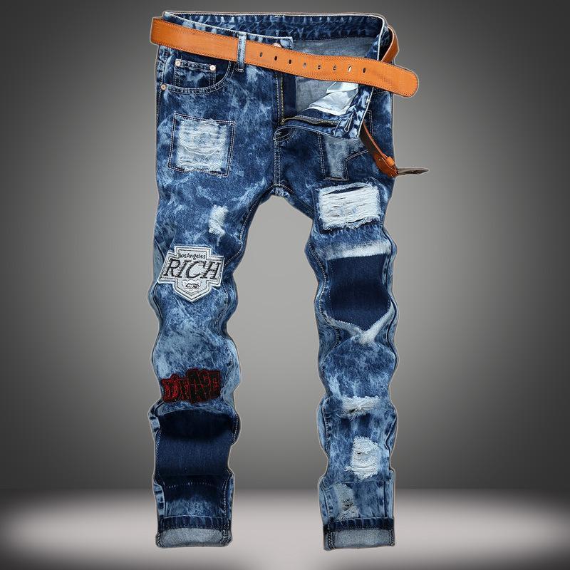 2018 Marka Moda Erkek Harem Jeans Yıkanmış Ayaklar Shinny Denim Pantolon Hip Hop Spor Elastik Bel Koşucular Pantolon 28-40