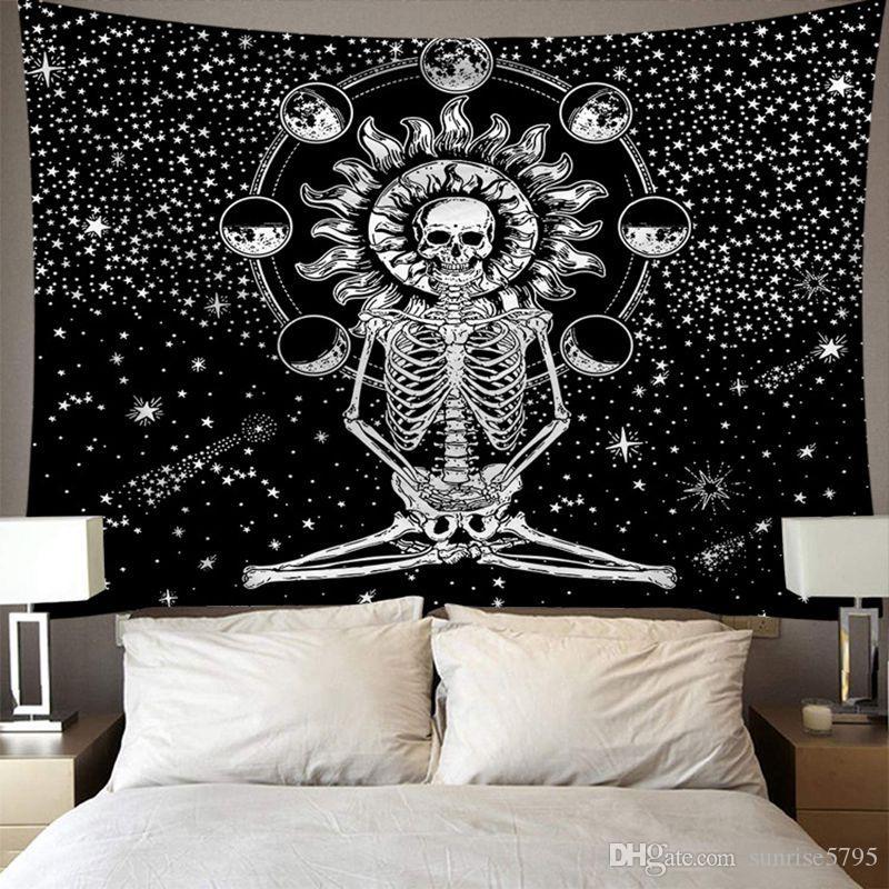 black skull tapestry nature flower floral wall hanging art creative headboard decoration dorm bedroom tapiz modern tenture mural