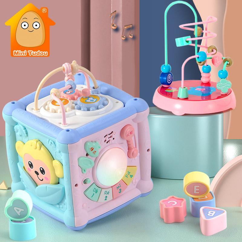 Multifunktionale Musik-Spielzeug Xylophone Kleinkind Baby Box Music Klavier Aktivität Cube geometrischer Block Sortierung Lernspielzeug