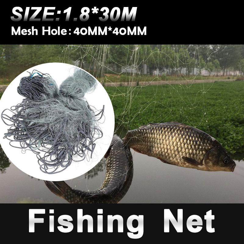 Multifilament Gill Net 3 Floors Practical Folding Fishnet Fishing Tools Fish Line Salvage Network Portable Gray Outdoor