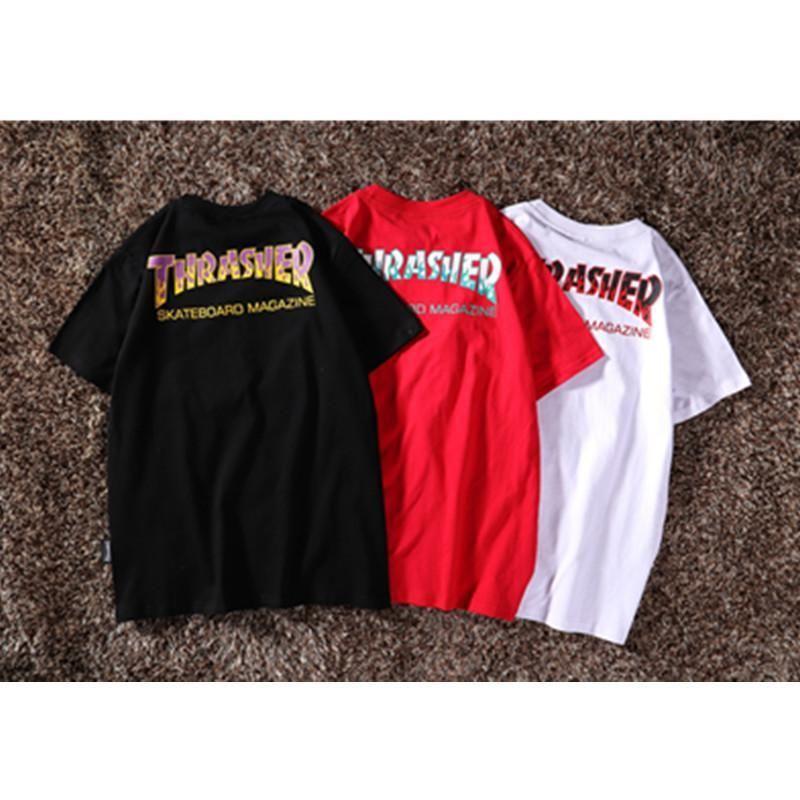 manches courtes 2019 hommes et femmes de flamme marée lettre marque de mode de la rue d'impression T-shirt classique en coton hip-hop demi manches nouveau style