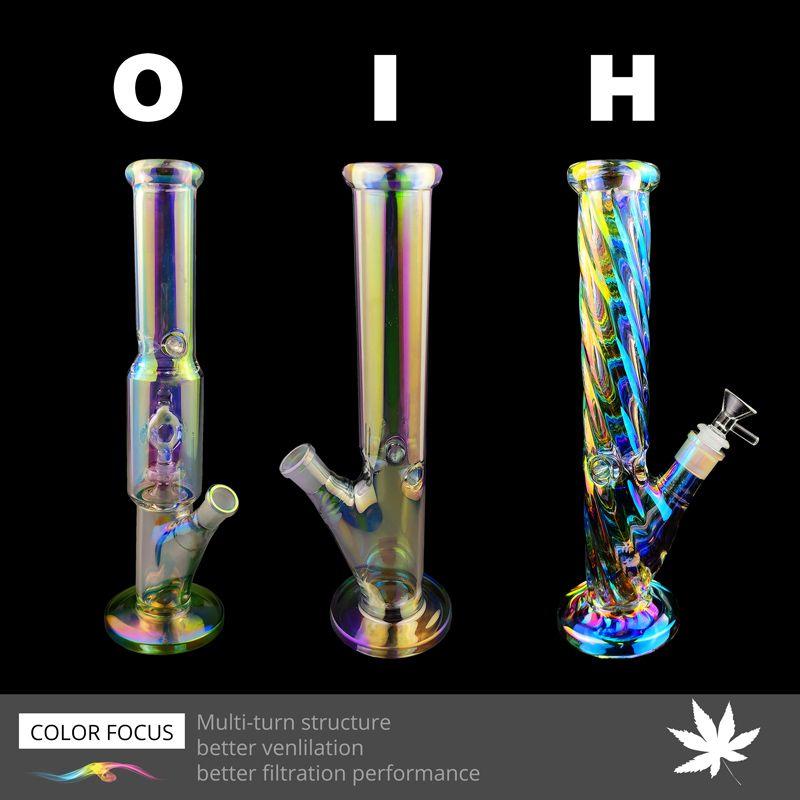 Popolare caldo 12,5 pollici Tubi arcobaleno con nube di vetro Stile Bong acqua con bowl1pcs 1 pezzi di vetro Downstem