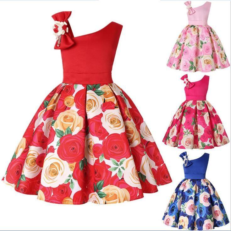 Çocuklar için büyük Yay Eğimli Omuz Elbise Doğum Günü Partisi Bebek Kız Giyim mavi Kırmızı Gül Çiçek Baskı Kıyafeti Elbiseler 2-9 yaş çocuklar