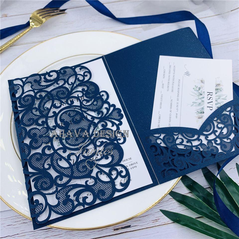 Navy Laser Cut Pocket trois fois Invitation de mariage, personnalisable invitations avec Respond cartes et enveloppes, livraison gratuite