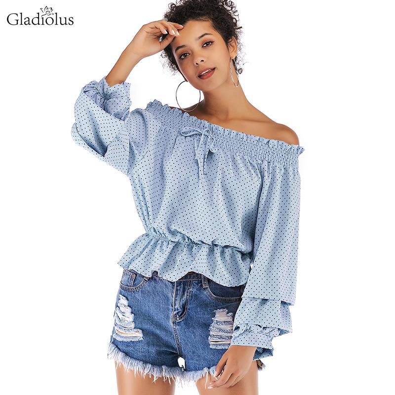 Mulheres Blusas Camisas Gladiolus Chiffon Blusa Mulheres 2021 Primavera Outono de Manga Longa Polka Dot off Ombro Sexy Ruffles Blusas