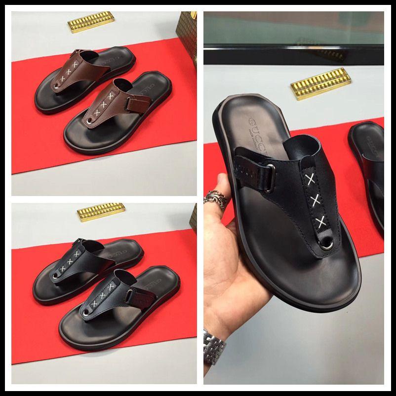 Genuine Leather Men Slippers Beach Flip Flops Men Shoes Leather Male Slippers Summer Flip-flops Foot Massage Slippers