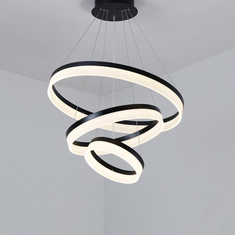 الحديث LED قلادة الأنوار مصباح للعيش غرفة الطعام ديكور خواتم تعليق نوم بريق دائرة مصباح معلق مع البعيد