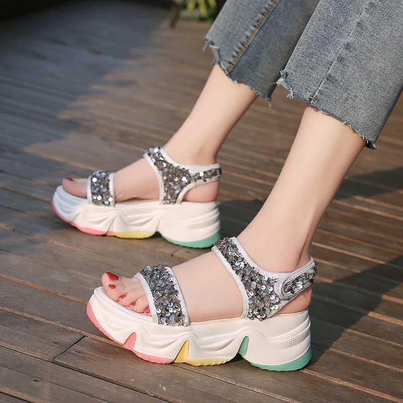 Обувь платье Сандалии платформы женские Летние радуга дно дикие блестки Roman Z527