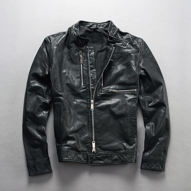 мужские приталенный Fit натуральная кожа куртка черный пальто мужчины овчины стоять мотоцикл шеи байкерские куртки
