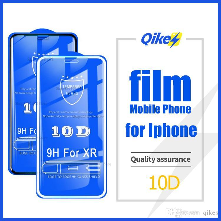 10D completo protector de la pantalla encolada en el para Apple iPhone XS Max X XR 6 6S 7 8 Plus vidrio templado de protección 6plus 7plus 8plus 9H